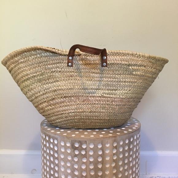 Vintage Handbags - Vintage Straw Woven French Market Basket